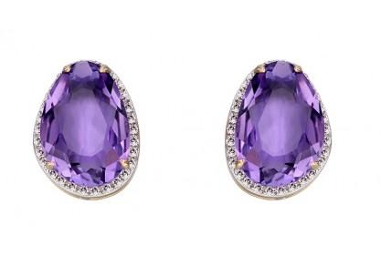 9ct Yellow Gold Amethyst & Diamond Oval Earrings