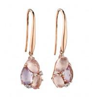 9ct Rose Gold Amethyst, Rose Quartz & Diamond Earrings