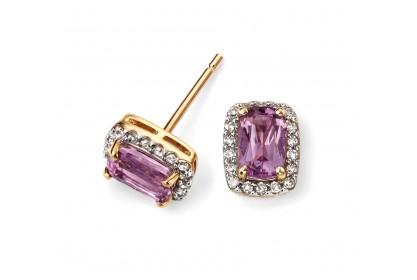 9ct Yellow Gold Amethyst & Diamond Stud Earrings