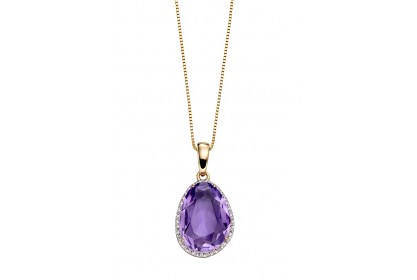 9ct Yellow Gold Amethyst & Diamond Oval Necklace