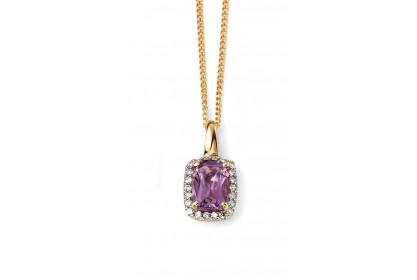 9ct Yellow Gold Amethyst & Diamond Necklace