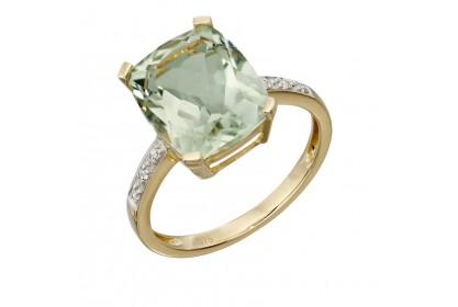 9ct Yellow Gold Green Amethyst & Diamond Ring