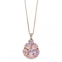 9ct Rose Gold Amethyst, Rose Quartz & Diamond Necklace
