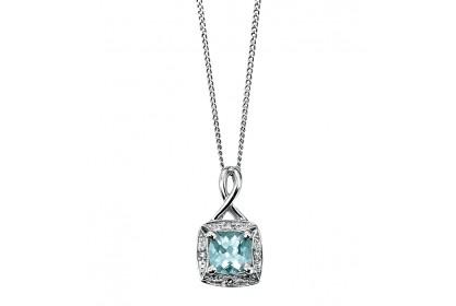 9ct White Gold Aquamarine & Diamond Necklace