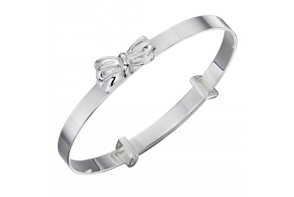 Sterling Silver Bow Motif Baby Bangle