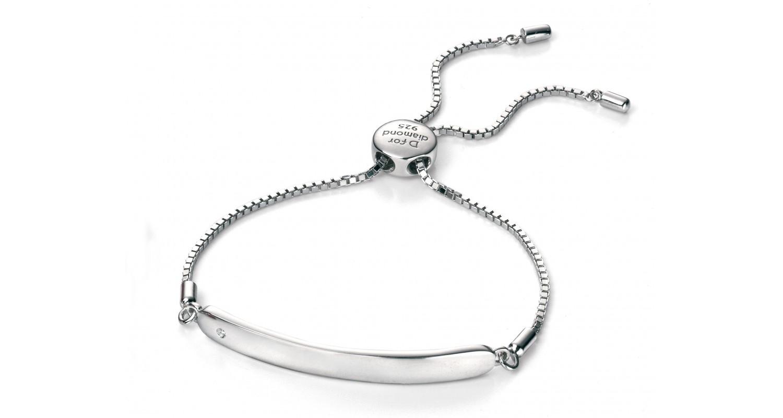 D For Diamond Chain ID Bracelet