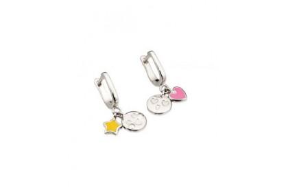 D For Diamond Emoticons Mismatch Charm Hoop Earrings