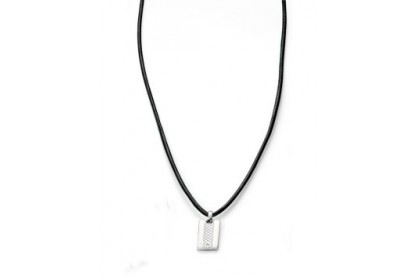 D For Diamond Boy's Leather Dog Tag Necklace