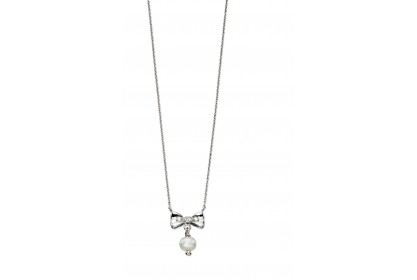 D For Diamond Bow And Pearl Necklace