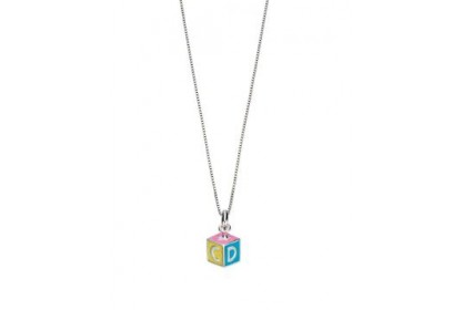 D For Diamond ABC Enamel Cube Pendant