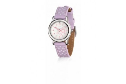 D For Diamond Lilac And White Spot Leather Watch