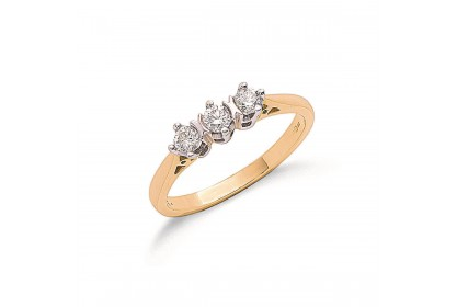 9ct Yellow Gold 0.33ct Diamond Trilogy Ring