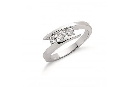 9ct White Gold 0.50ct Diamond Trilogy Ring