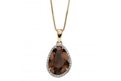 9ct Yellow Gold Smoky Quartz & Diamond Necklace