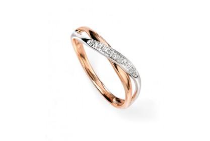 9ct Rose & White Gold Diamond Pave Ring