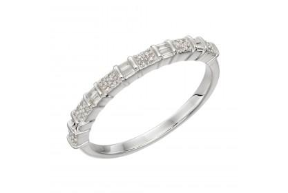 9ct White Gold Diamond Baguette Bar Ring