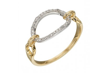 9ct White & Yellow Gold Diamond Bar Ring