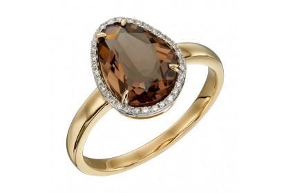 9ct Yellow Gold Smoky Quartz & Diamond Ring