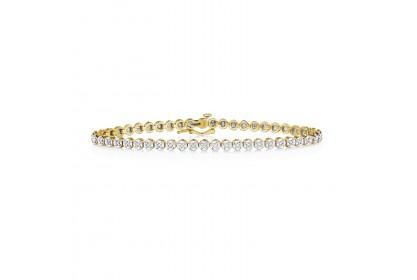 9ct Yellow Gold Illusion Set Diamond Tennis Bracelet