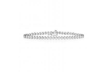 9ct White Gold Illusion Set Diamond Tennis Bracelet