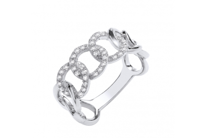 9ct White Gold 0.23ct Diamond Curb Ring