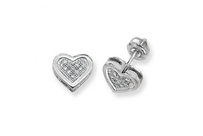 9ct White Gold Diamond Heart Studs
