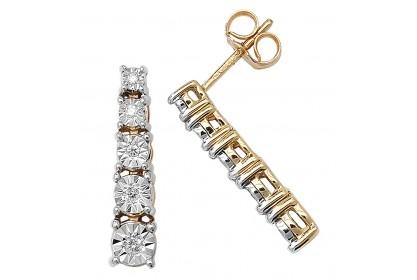 9ct Yellow Gold Diamond Drop Earrings