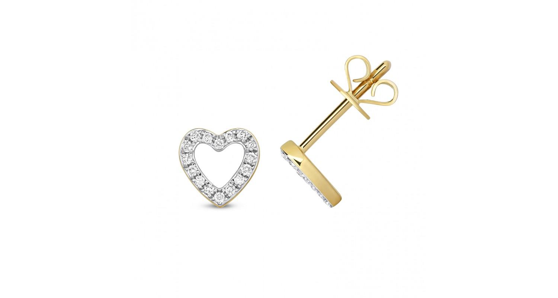 9ct Yellow Gold Diamond Heart Studs