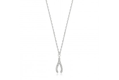 9ct White Gold Diamond Set Wishbone Necklace