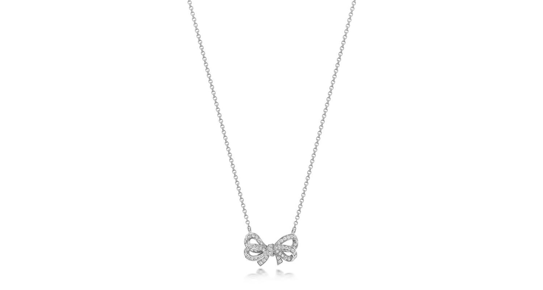 18ct White Gold Diamond Bow Necklace