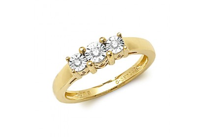 9ct Yellow Gold Illusion Set Diamond Trilogy Ring