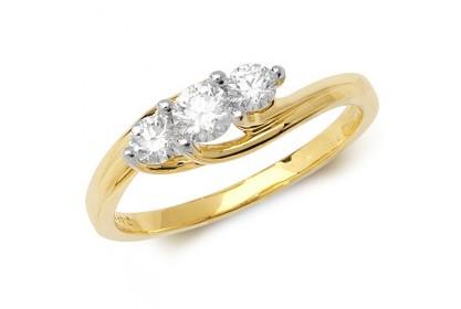 18ct Yellow Gold Diamond Trilogy Ring