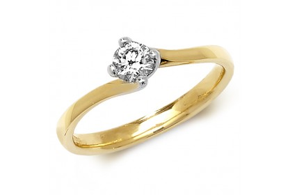 18ct Yellow Gold Diamond 0.25ct Solitaire Twist Ring