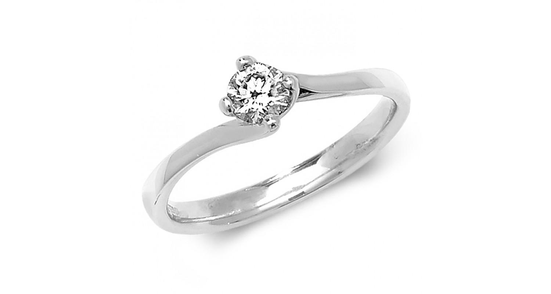 18ct White Gold Diamond 0.25ct Solitaire Twist Ring
