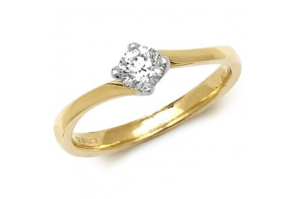 18ct Yellow Gold Diamond 0.35ct Solitaire Twist Ring