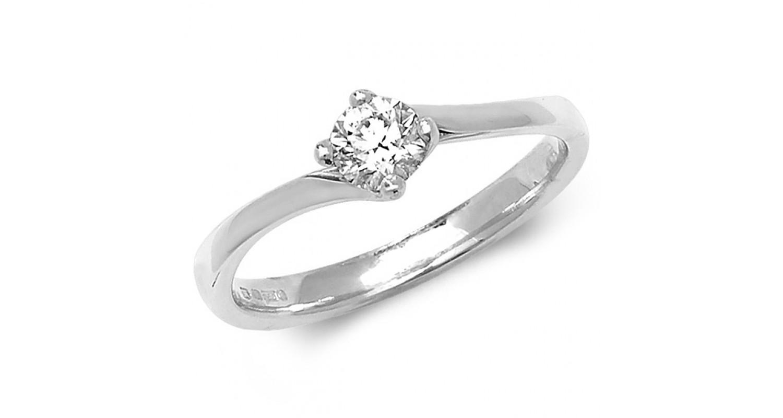 18ct White Gold Diamond 0.35ct Solitaire Twist Ring