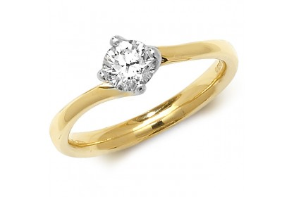 18ct Yellow Gold Diamond 0.50ct Solitaire Twist Ring