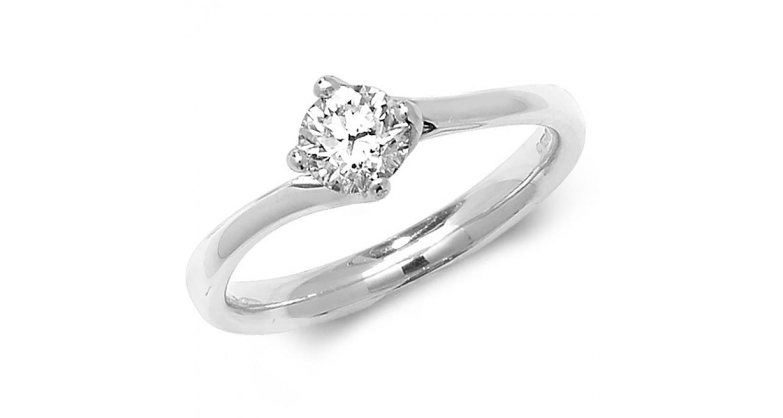 18ct White Gold Diamond 0.50ct Solitaire Twist Ring