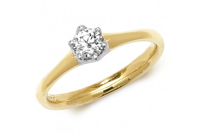 18ct Yellow Gold Diamond 0.25ct Solitaire Ring