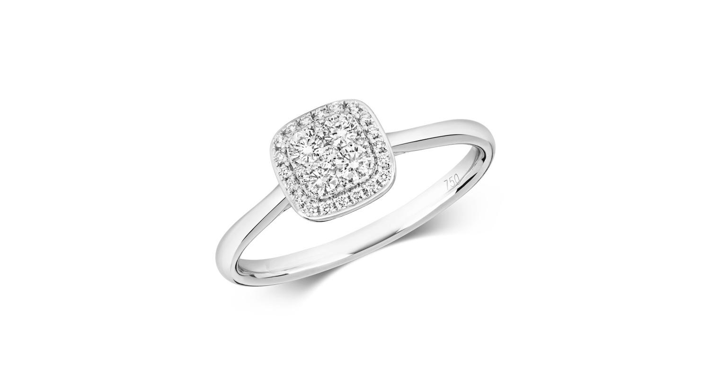 18ct White Gold Diamond Cluster Ring 0.26ct