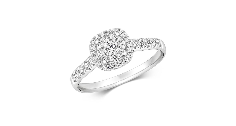18ct White Gold Diamond Cluster Ring 0.46ct