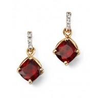 9ct Yellow Gold Garnet & Diamond Earrings