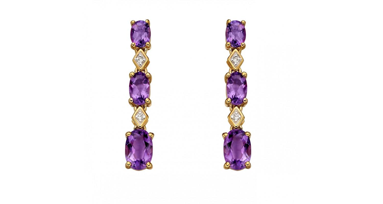 9ct Yellow Gold Amethyst & Diamond Earrings