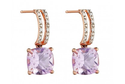9ct Rose Gold Amethyst & Diamond Earrings