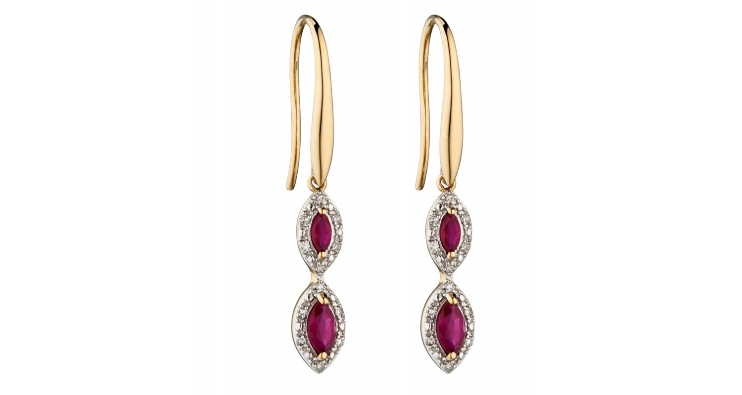 9ct Yellow Gold Ruby & Diamond Marquise Earrings