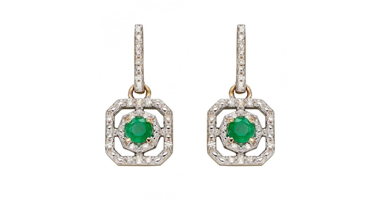 9ct Yellow Gold Emerald & Diamond Earrings