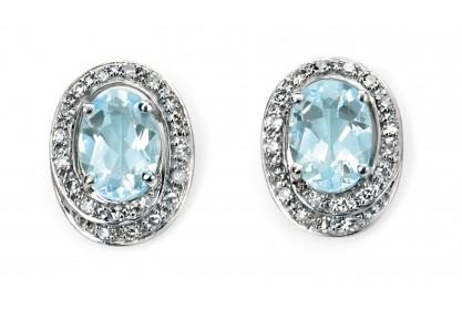 9ct White Gold Aquamarine & Diamond Earrings