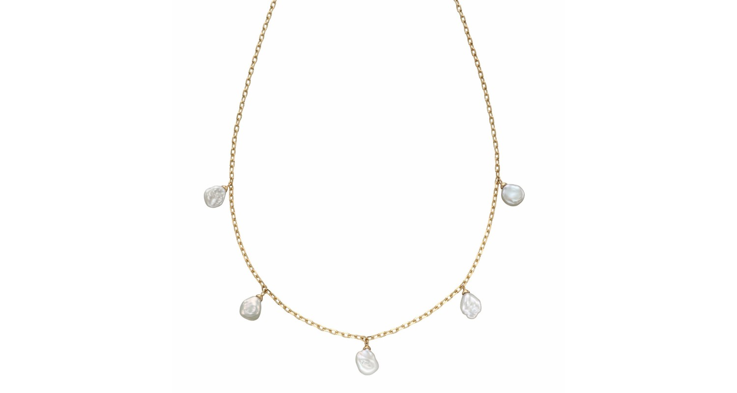 9ct Yellow Gold Keshi Pearl Charm Necklace
