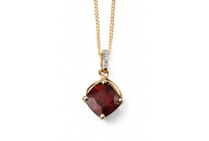 9ct Yellow Gold Garnet & Diamond Necklace