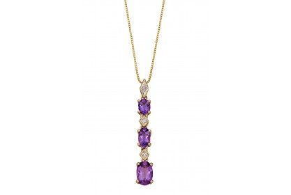 9ct Yellow Gold Amethyst & Diamond Necklace